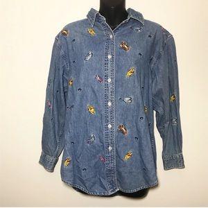 Disney Jean Embroidered Winnie the Pooh Shirt M